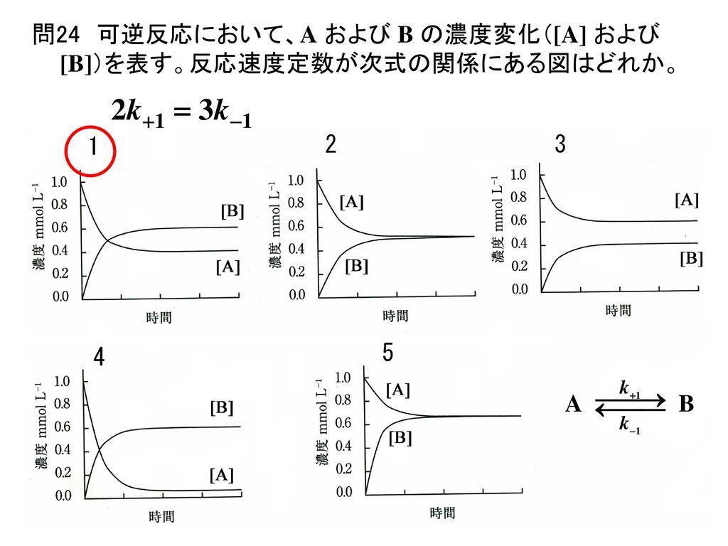 問24 可逆反応において、A および B の濃度変化([A] および [B])を表す。反応速度定数が次式の関係にある図はどれか。